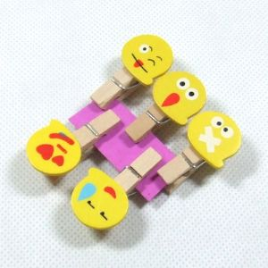 Wooden peg embellishments, Yellow, 1.2cm x 2.2cm x 4cm, 5 pieces, (MJZ030)